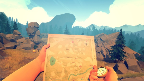 Firewatch's map and compass navigation is fantastically retro and really immerses you in the land